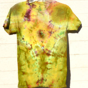 Chartreuse Plum Mustard Tie Dyed Tee Shirt Small